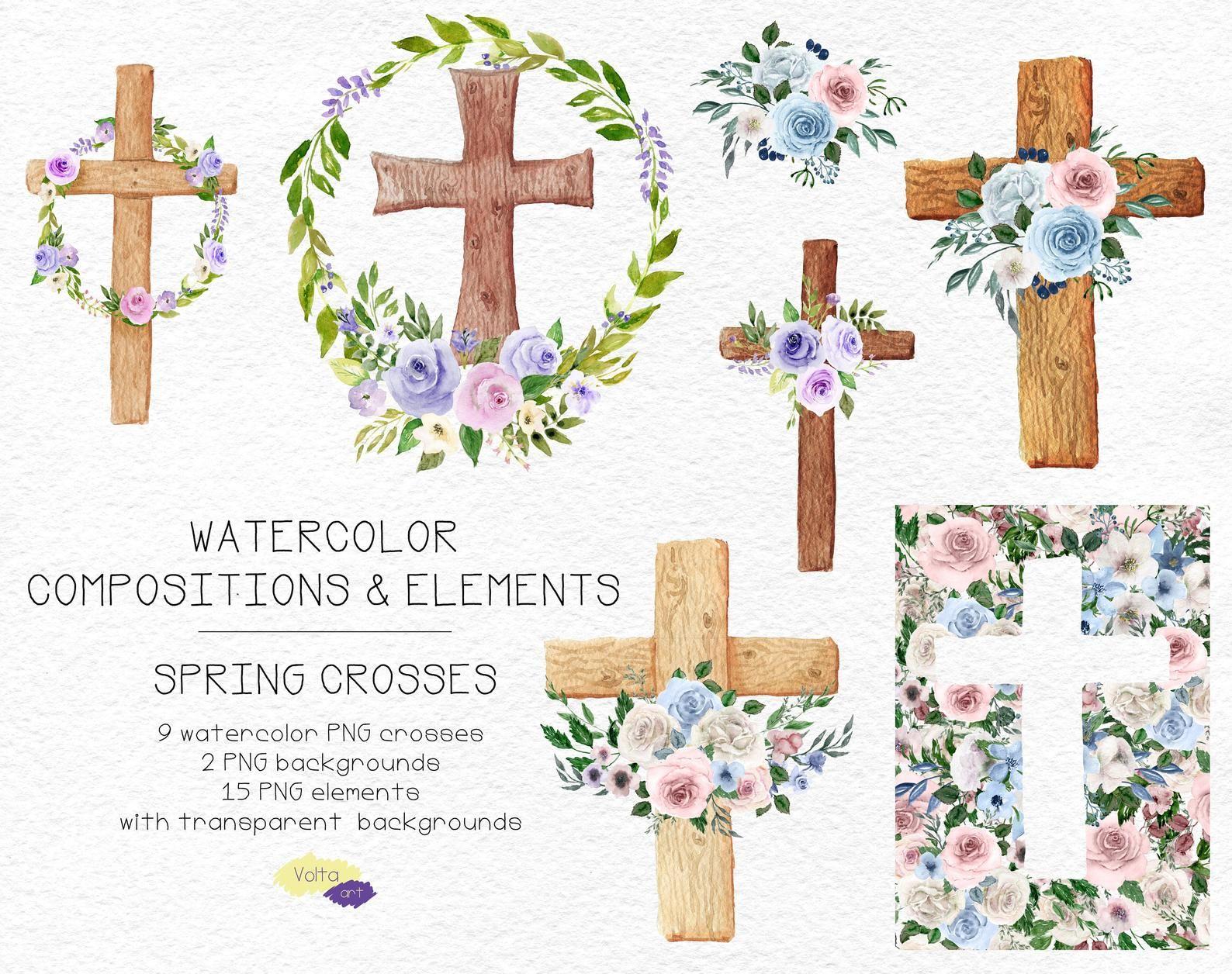 Watercolor Floral Crosses Wood Crosses And Bouquets Clip Art Etsy Floral Watercolor Wood Crosses Clip Art