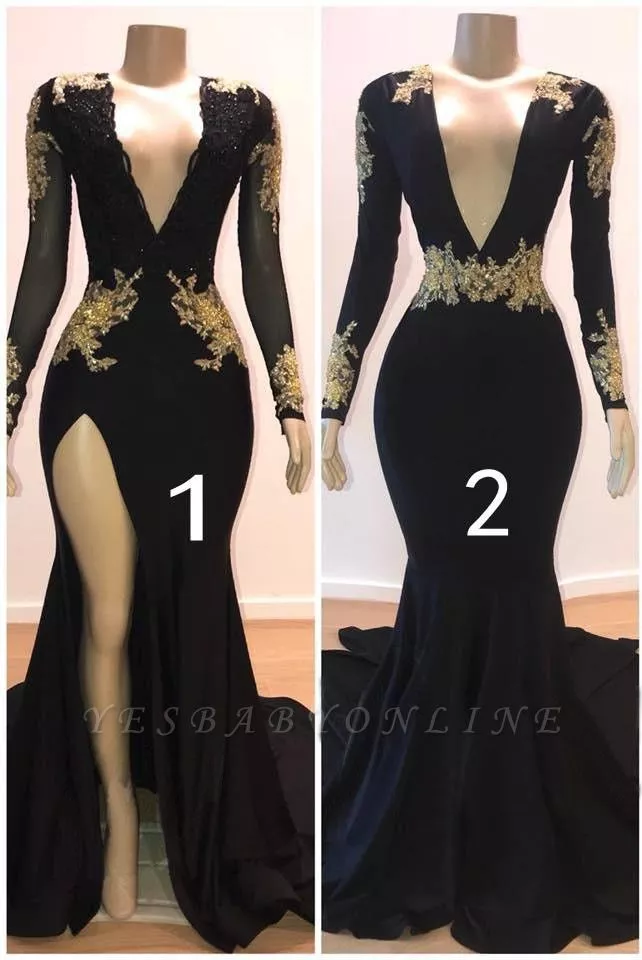 Charming Mermaid V Neck Long Sleeves Appliques Floor Length Prom Dresses With Images Prom Dresses Long With Sleeves Black Prom Dresses Prom Dresses With Sleeves