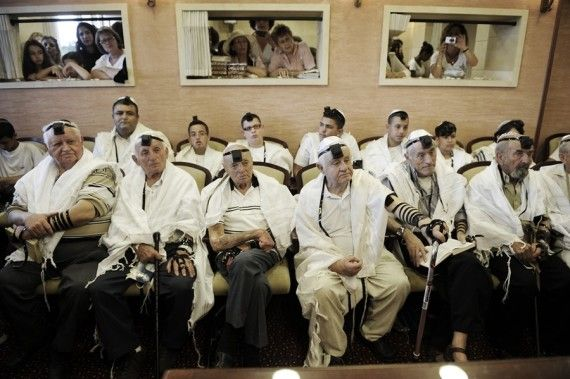 Six Holocaust survivors who were unable to have a bar mitzvah because of being in the camps, and finally had a collective bar mitzvah in Ashkelon, Israel in 2012.
