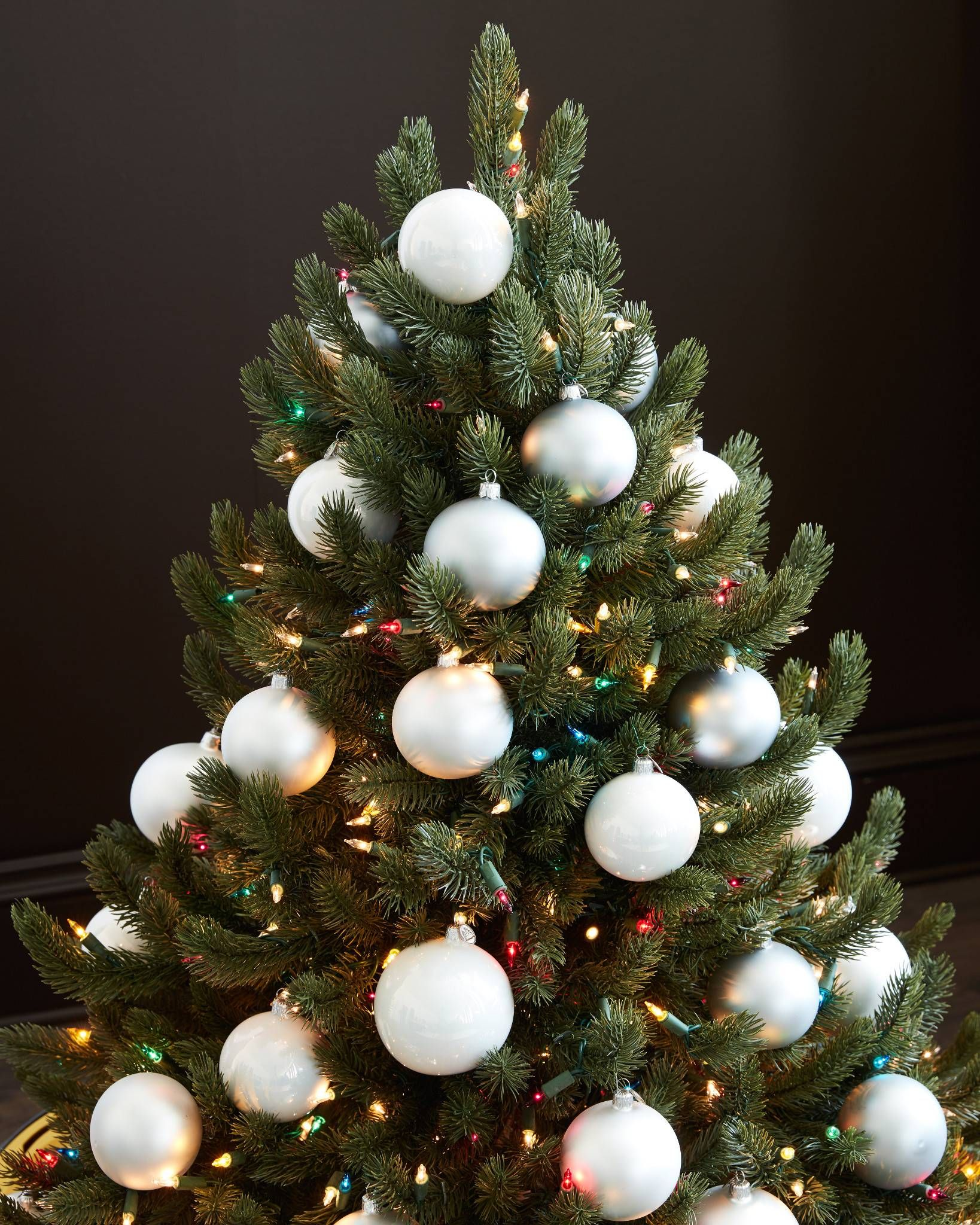 Bh Essentials Metallic Ornament Set White Christmas Trees Christmas Decorations Ornaments