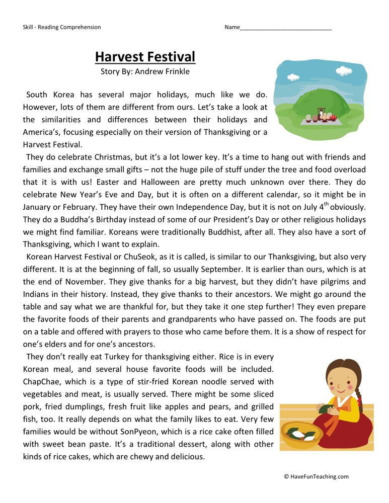reading comprehension worksheet harvest festival culture  reading comprehension worksheet harvest festival