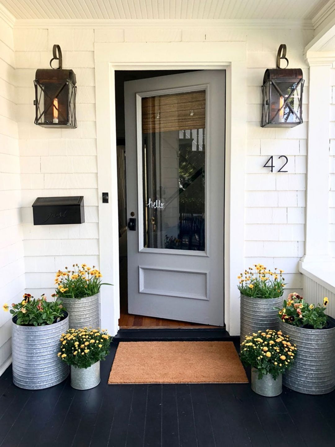 The front door with fall plantings images