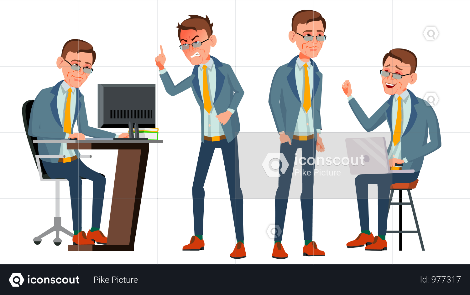 Premium Office Worker With Working Gesture Illustration Download In Png Vector Format Illustration Cute Illustration Character Illustration