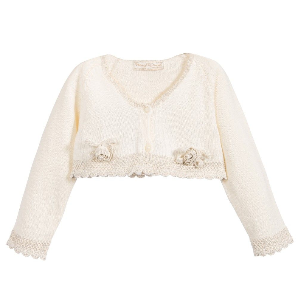 Mayoral Baby Girls Ivory & Gold Knitted Bolero Cardigan at ...
