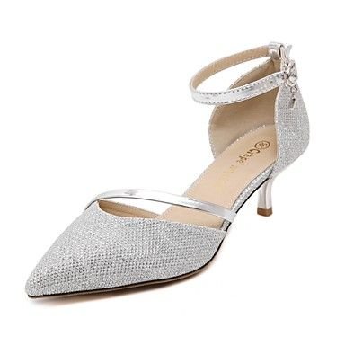 Shoes For Women Low Heel Pointed Toe Heels Dress Casual Silver Gold