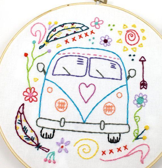 Hippy Van Bus Hand Embroidery PDF Pattern Travel | Bordado, Dibujos ...