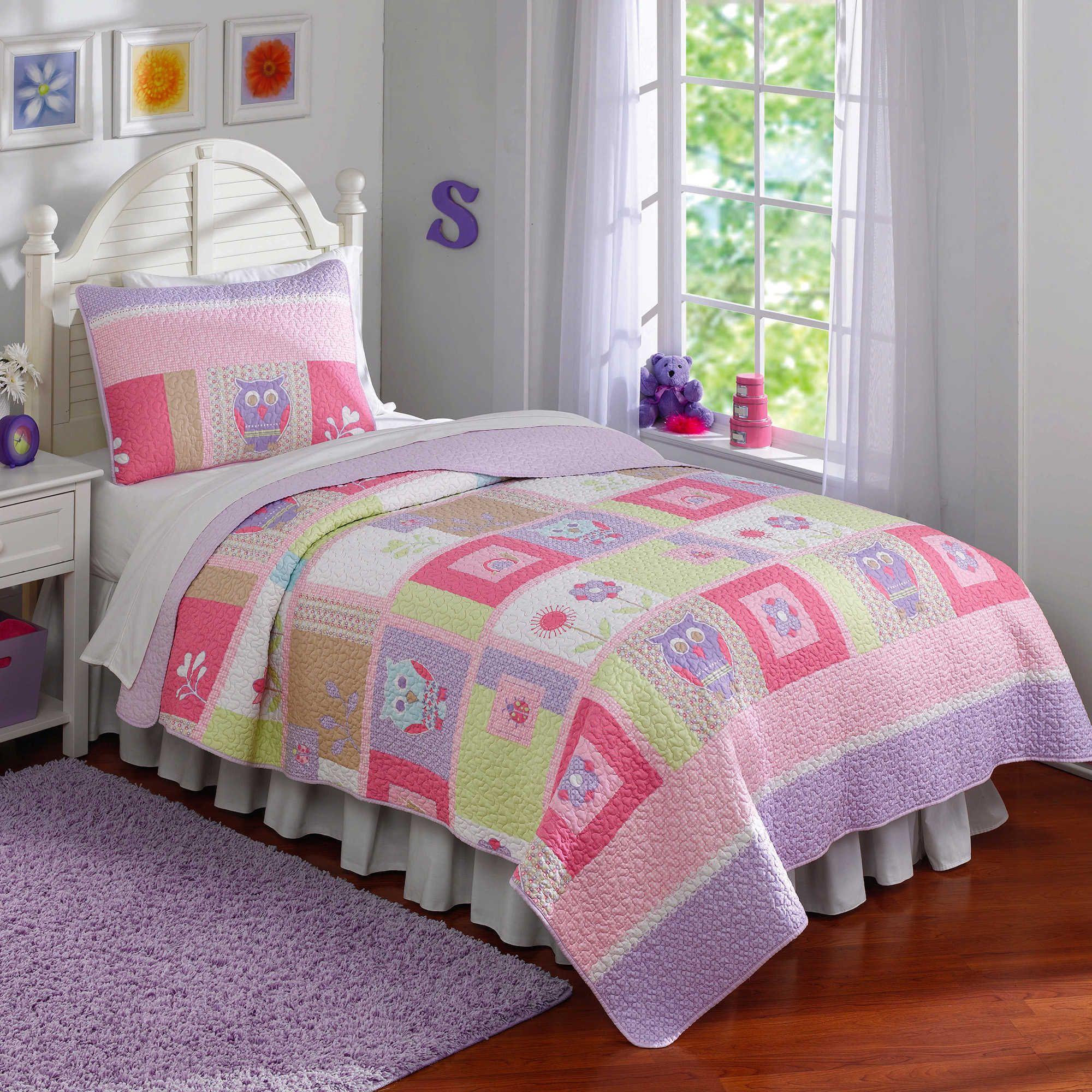 Happy Owls 3piece Quilt Set (Queen 3 Piece), Pink, Pem