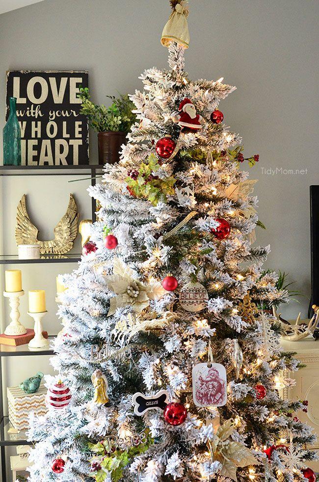 decorated flocked christmas tree at ogt. Black Bedroom Furniture Sets. Home Design Ideas