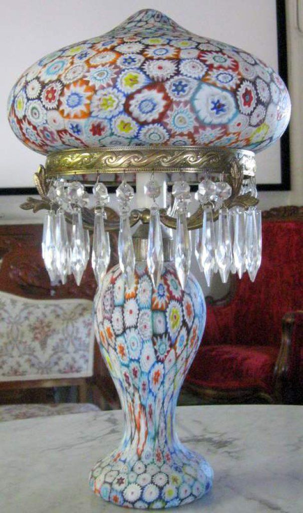 Millefiori Mushroom Table Lamp Auctions Online Proxibid Lamp Crystal Table Lamps Venetian Sculpture