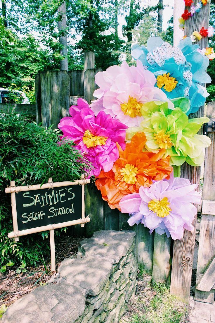 Luau Giant Tissue Paper Flowers Selfie Station Girl Birthday