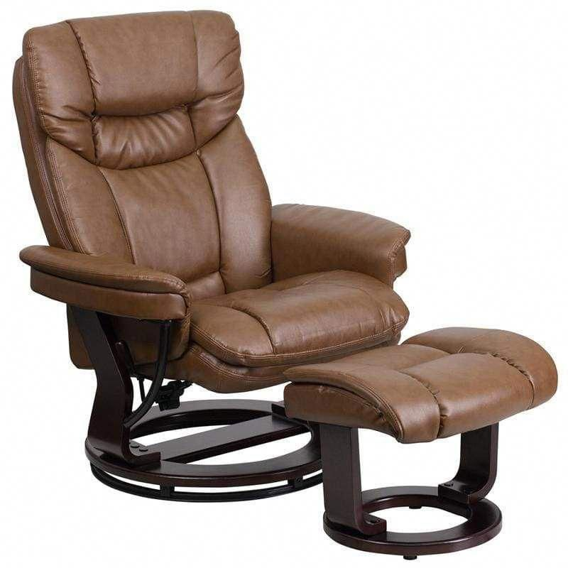 Contemporary palimino leather recliner and ottoman with