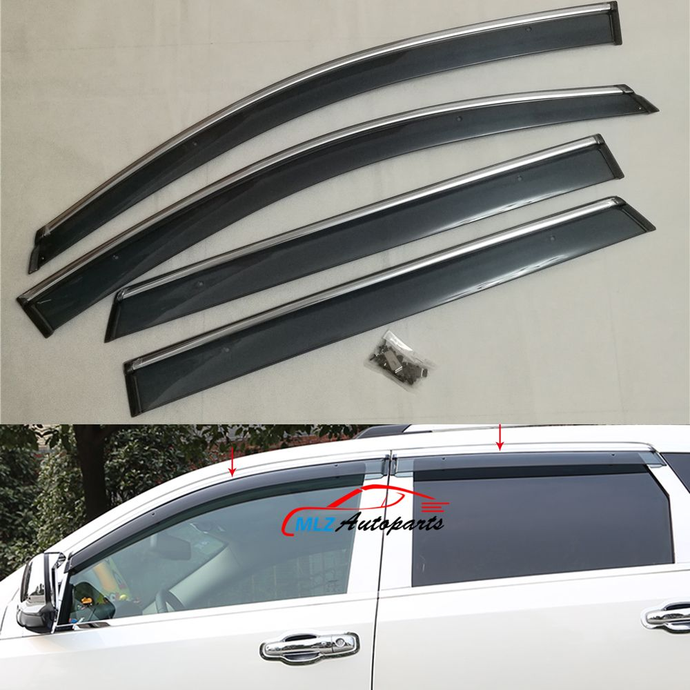 Door Side Window Visors Wind Deflector Molding Sun Rain Guards With Stainless Trim Shield For Dodge : door deflector - pezcame.com
