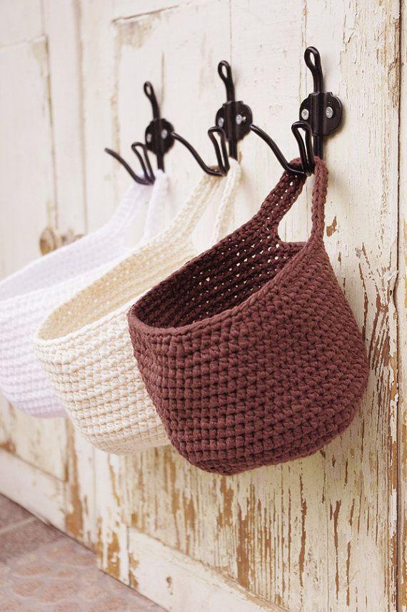 Wall Hanging Storage Basket Modern Boho Home Decor Home Organization Hanging Storage Crochet Basket Storage Baskets