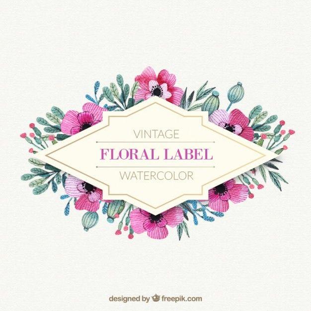 flores de color rosa con marco de hojas de acuarela | Descargar ...