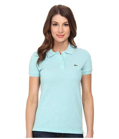 Lacoste Lacoste  Sleeve Classic Fit Pique Polo Shirt Corsica Aqua Chine Womens Sleeve Knit for 62.99 at Im in!