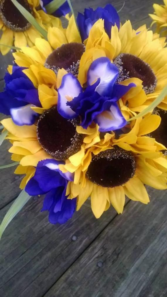 Yellow Sunflower Bridal Bouquet | Yellow and Purple Silk Bridal | Sunflower and Iris Bouquet Set | M