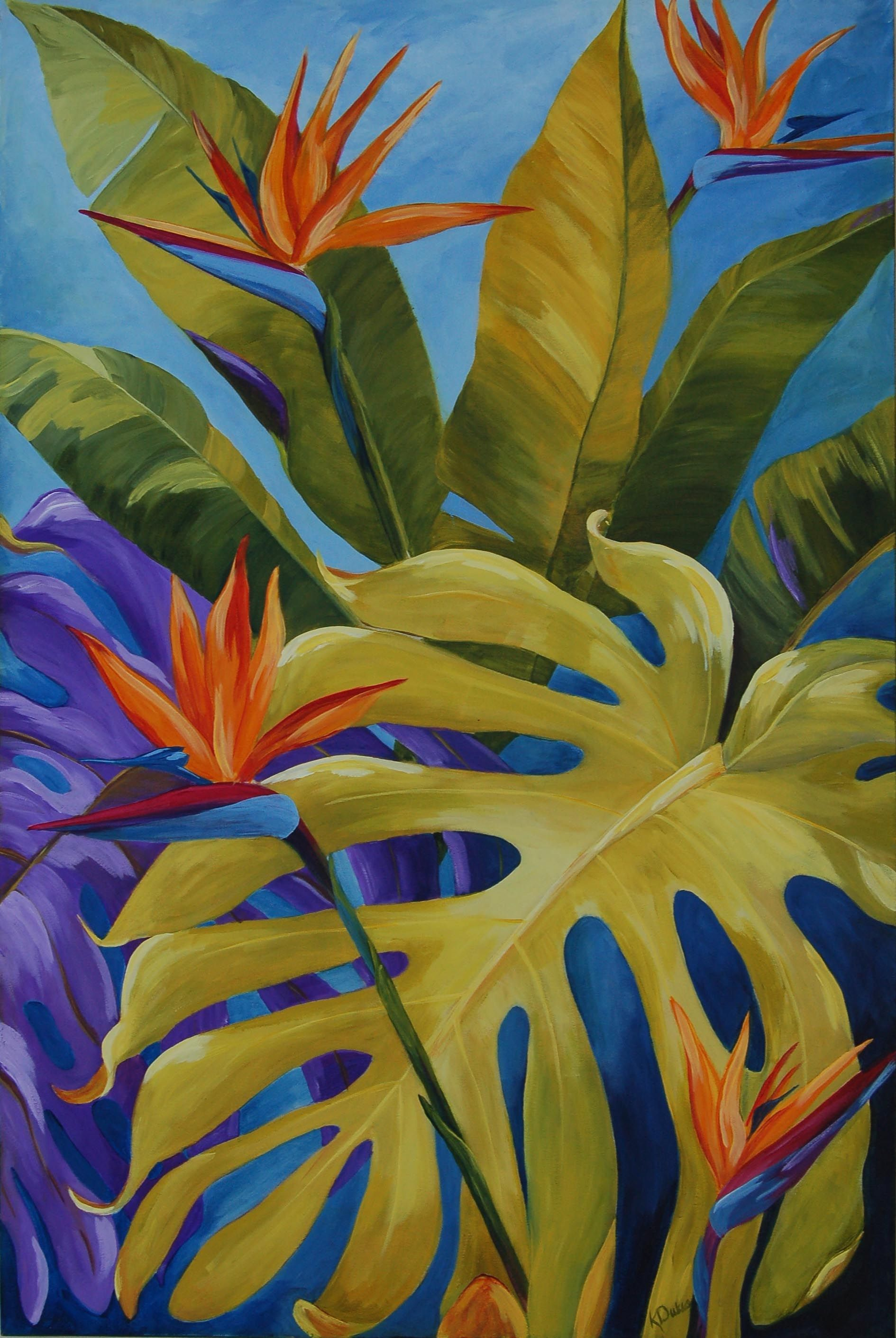 Karen Dukes-Tropical birds. Original Paintings (