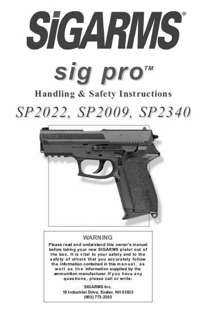 sigarms sig sauer pistol pro sp2022 sp2009 sp2340 owner s manual rh pinterest com sig sauer p320 owners manual sig sauer p226 owner's manual