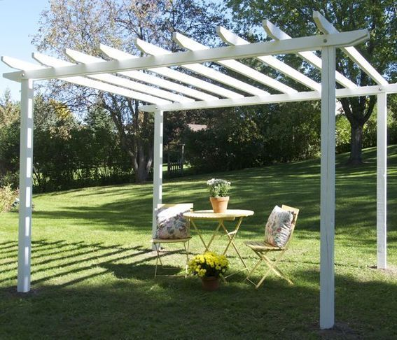 Cheap DIY Pergola!  This will definitely be going up.  I can dress it up with diy curtains and canvas strips across the top... Maybe get this done this weekend!!! =)