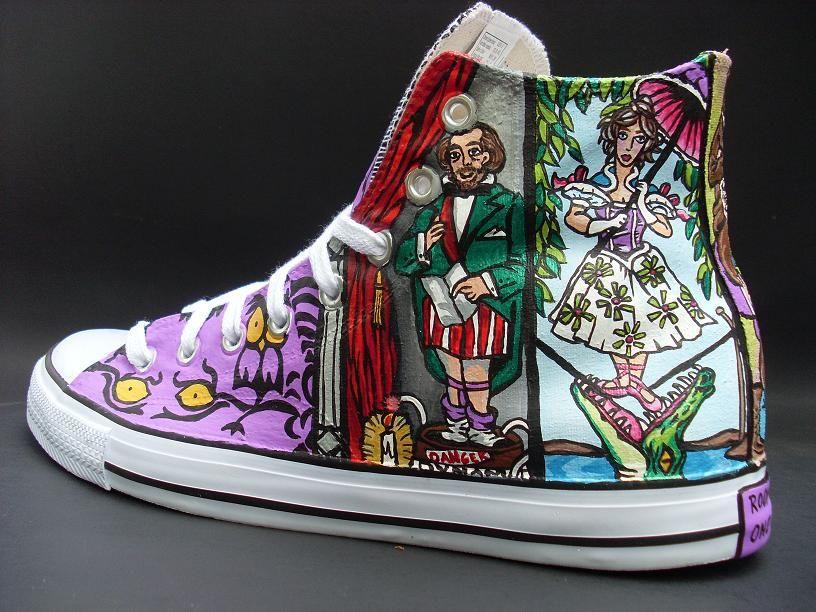 Painted sneakers, Disney converse