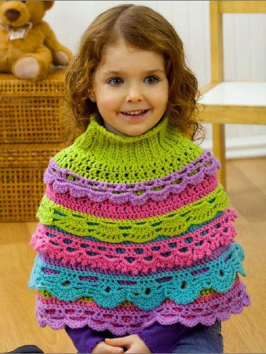 Girl\'s Ruffle Capelet pattern by Myra Wood   Tejidos Crochet ...