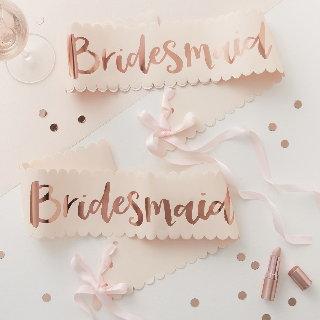 Hen Party Sashes Are A Lovely Way To Get Everyone Feel Part Of Your Hen Do And These Rose Gold Bridesmaid Sashes From Partydelights Bride To Be Sash Rose Gold Bridesmaid