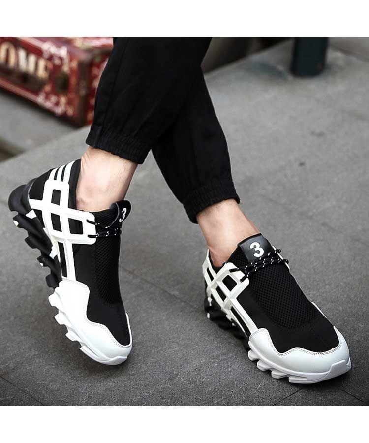 857148ec19cb Black white check casual leather skate shoe sneaker