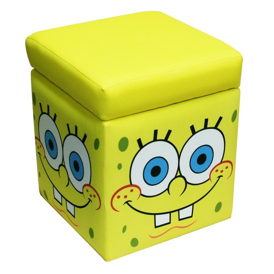 Spongebob Storage Ottoman Vesitile Storage, Seat Or Ottoman Cleans Easily  With Mild Soap And Water