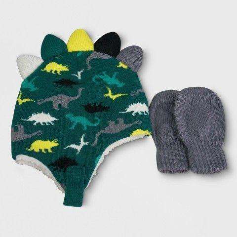 Cat   Jack Toddler Boys  Dinosaur Knit Peruvian Hat and Mitten Set - Cat    Jack Green 1fd597485d2