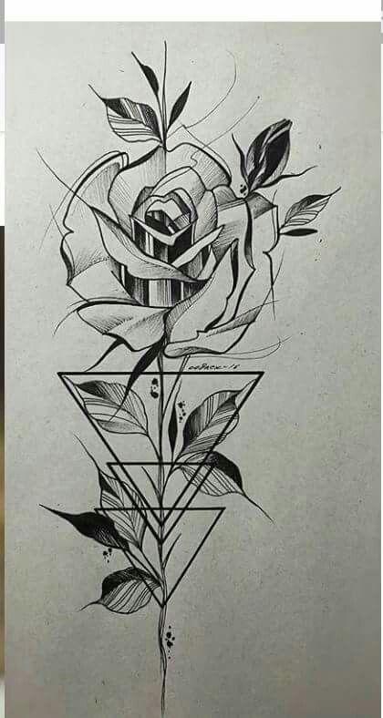 Line Art Rose Tattoo : Mude esses tri ngulos acrescente mais duas rosas menores