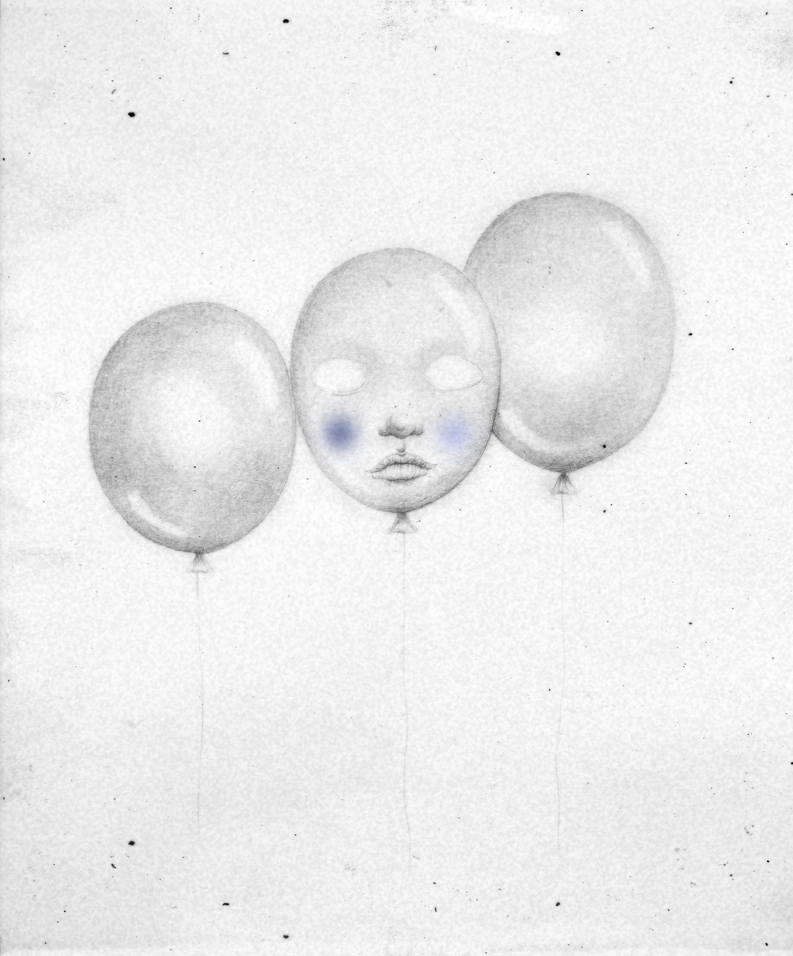 Balloon Face Black And White Illustration Pencil Drawing