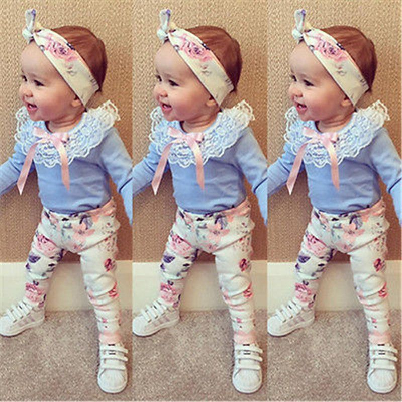 Toddler Kids Baby Girls Dress T shirt Tops Floral Pants Headband Outfits Set