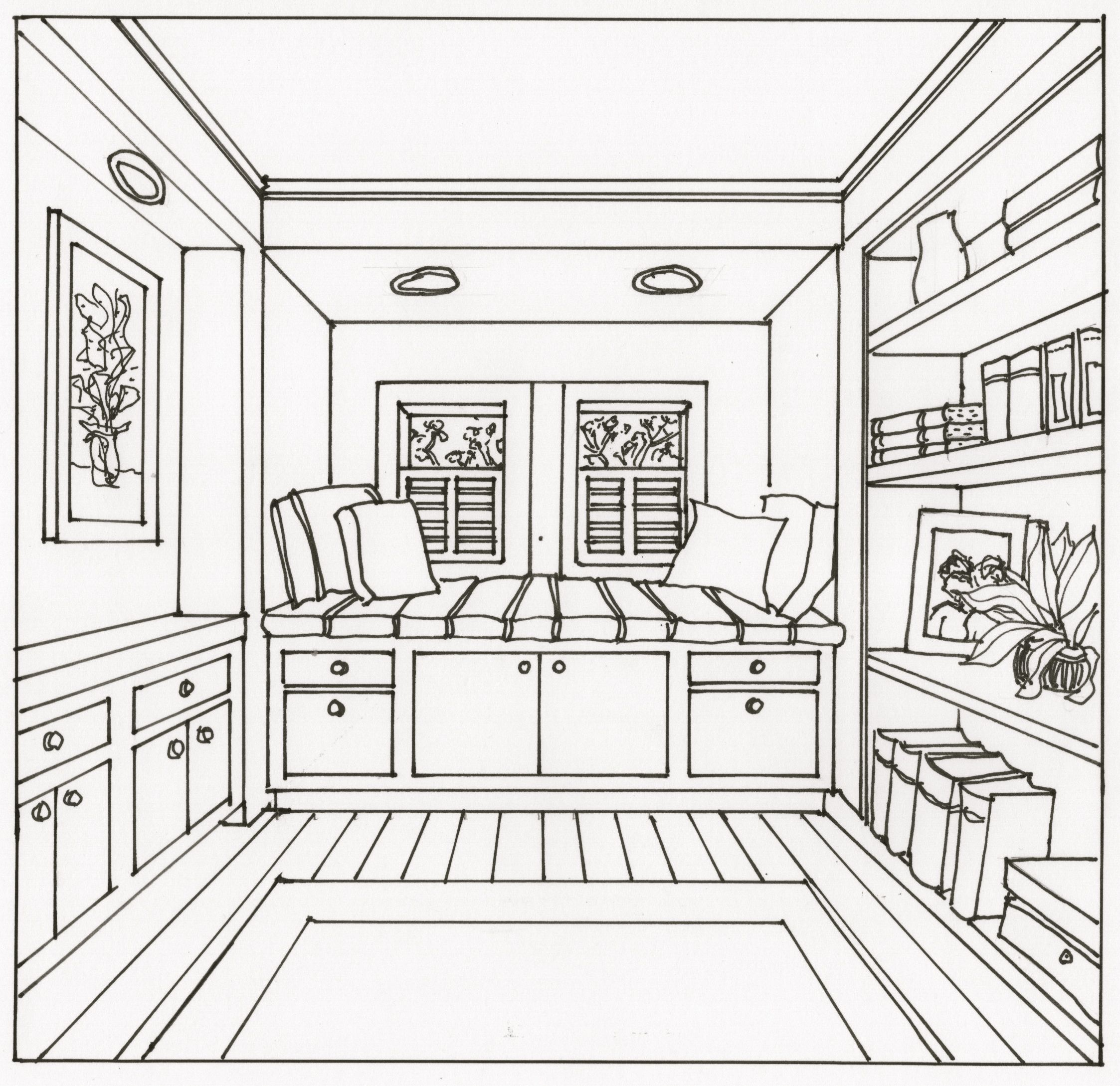 this one point perspective window seat image was one of the drawing activities description from. Black Bedroom Furniture Sets. Home Design Ideas