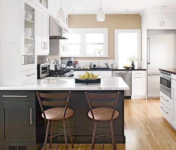 Dark Kitchen Walls With White Cabinets: Soft Tan Walls, White Uppers Dark Grey Bottoms.