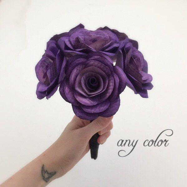 Book Page Bouquet, Paper Flower Wedding Bouquet, Purple Bouquet ...