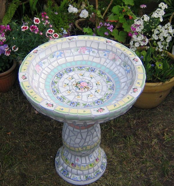white shabby chic bird bath | Gardening - Garden Art ...
