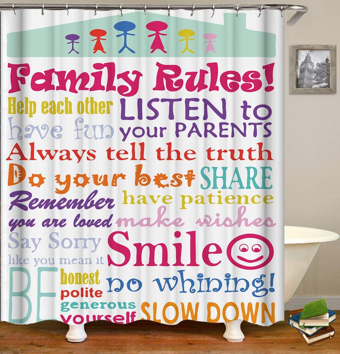 Raymall Family Rules Shower Curtain Child Educational Word Cloud