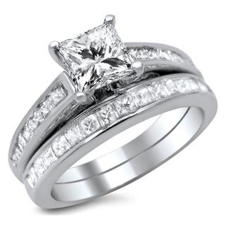 overstock 14k white gold 1 34ct princess cut diamond bridal set - Princess Cut Wedding Ring Sets