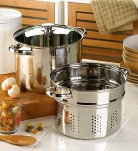 "FREE SHIPPING~From pasta to soups, this versatile stock pot makes gourmet cooking a breeze! Multipurpose 8-quart set lets you steam, boil and cook up all your favorites.         Additional Product Details:    Weight 4.2 lbs.  Suitable for dishwasher; hand wash recommended.  MEASURING: Set: 13"" across x 10"" wide x 10¼"" high; strainer: 13"" across x 10"" wide x 7"" high.  MATERIAL: Three-piece set includes outer pot, strainer insert and lid. Stainless steel and glass lid. Item 14737"