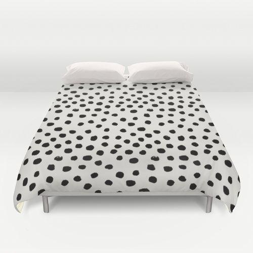 Preppy Brushstroke Free Polka Dots Black And White Spots Dots Dalmation Animal Spots Design Minimal Black And White Bedspreads Duvet Covers Duvet Cover Pattern
