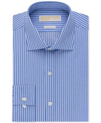 Michael Michael Kors Non-Iron Atlantic Blue Stripe Dress Shirt