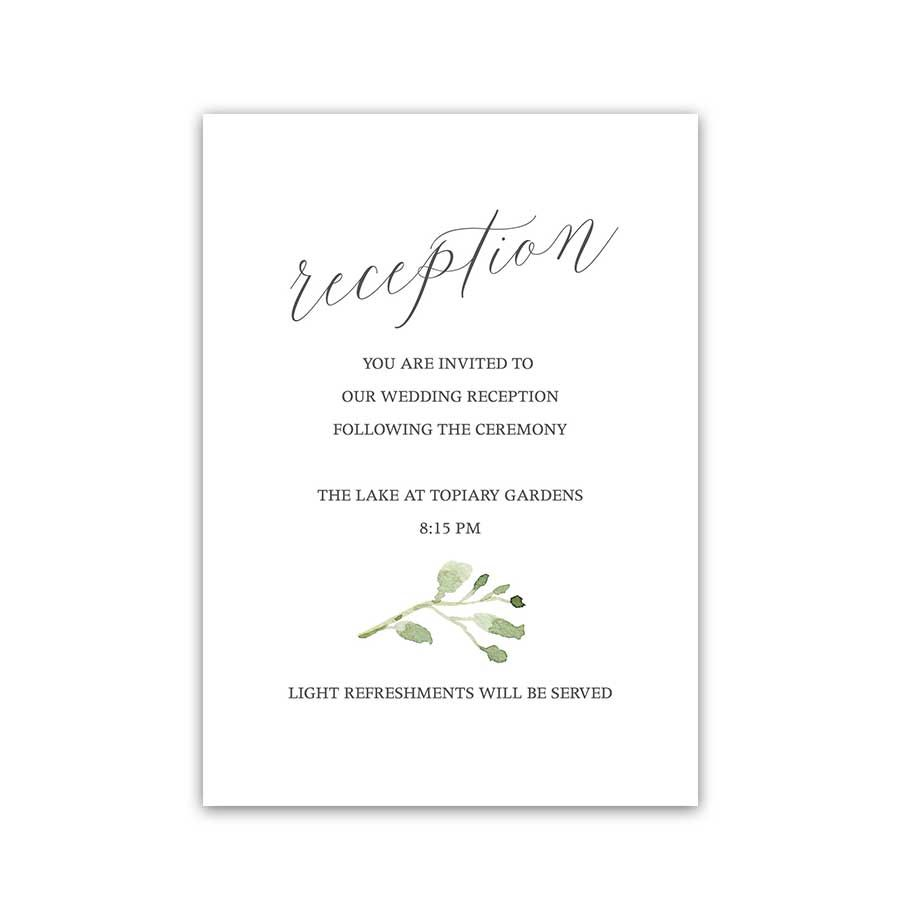 Calligraphy Wedding Reception Details Card Eucalyptus Wedding Details Card Wedding Wording Wedding Reception Cards