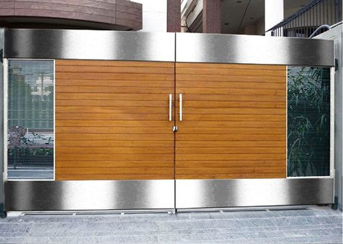 Modern boundary wall designs with gate google search for Main gate door design