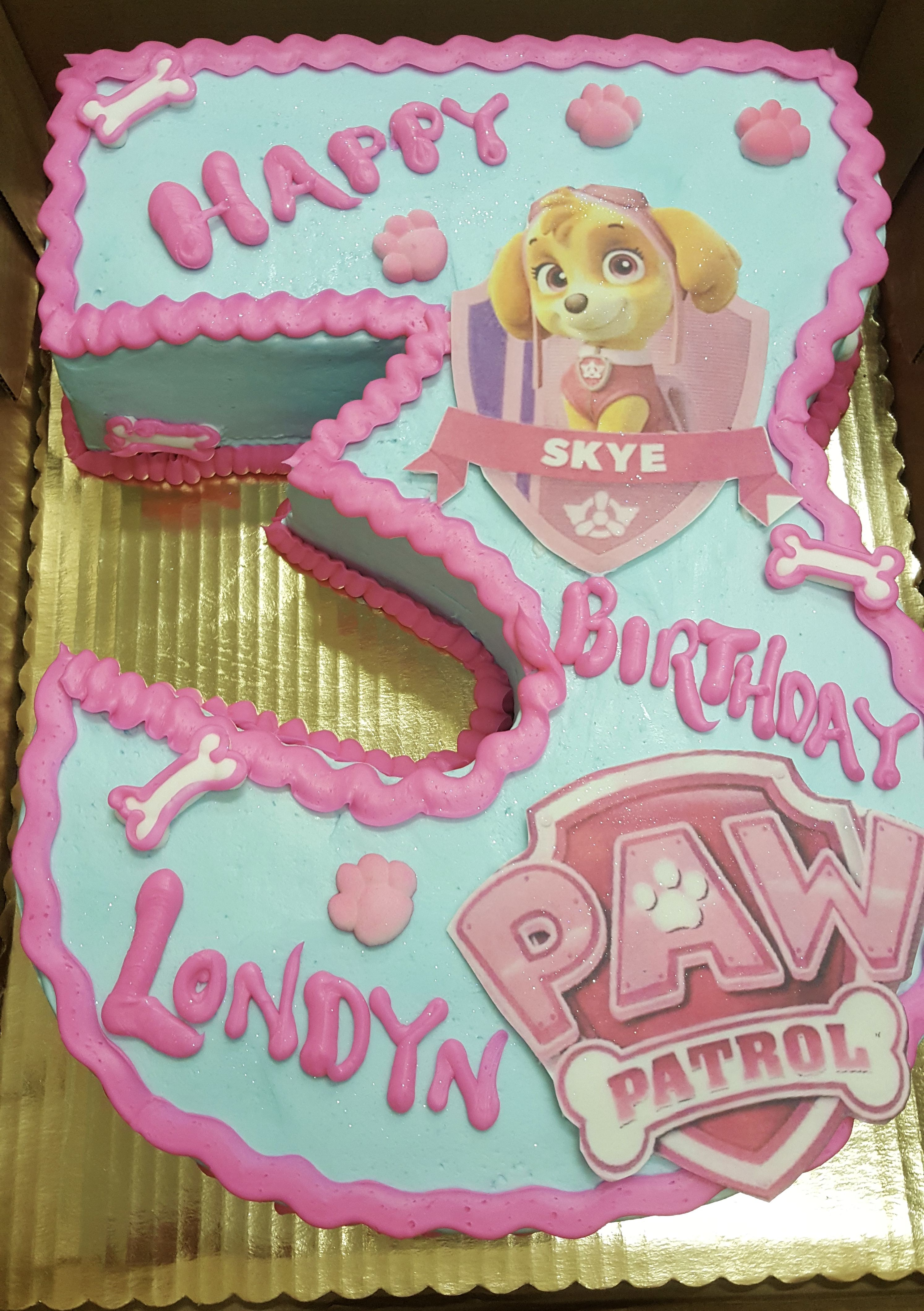Calumet Bakery Paw Patrol Number 3 Cake Third Birthday Girl 3rd Cakes