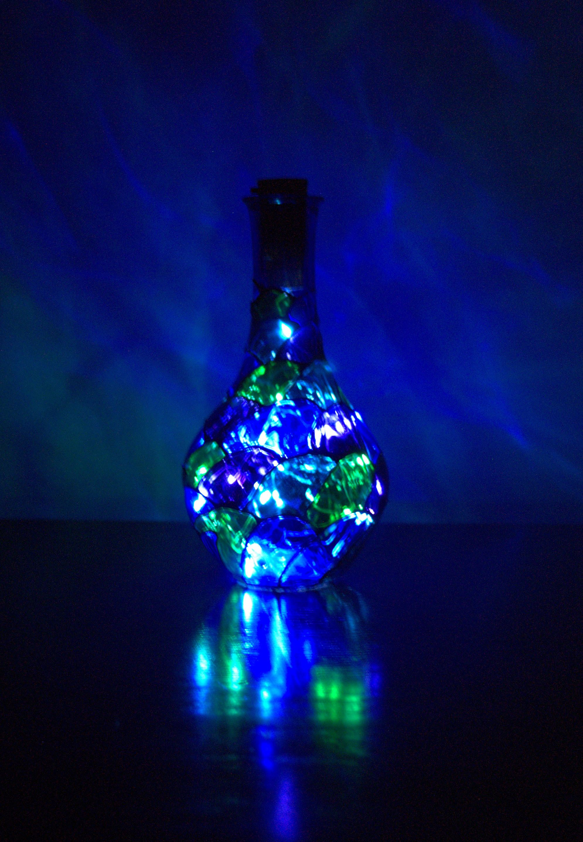 Fairy lamp christmas lights light bottle recycling wine bottle unique hand painted night light ready for shipping gift wrapping by emeralddreamsgift on