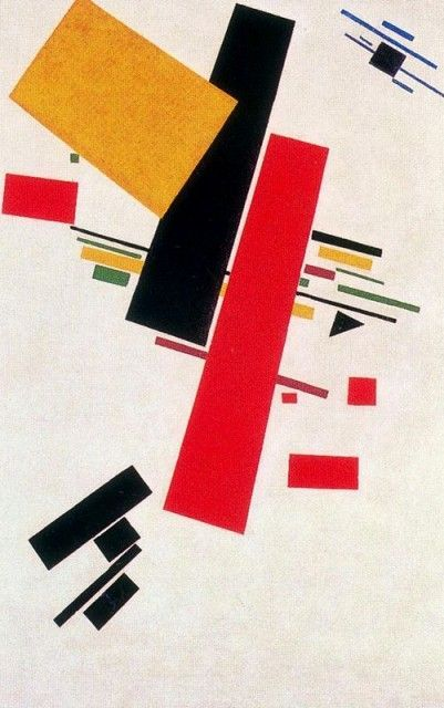 Russian Constructivism - Kazimir Malevich ~ Dynamic Suprematism - completely eliminated the object. What its paintings achieved are fundamentally only pure interrelationships. Flatly extended rectangles and strips float in continuous interrelation in space for which there is no true human measure.: