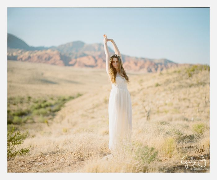 gaby j photography las vegas desert bridal, wedding dress by white romance, flower crown by gardens of whimsy