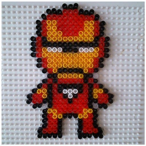 Iron Man En Perles à Repasser Modèle Pattern Perler Bead Projects