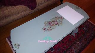 Funky-Junk: Turquoise Painted and Découpaged Coffee Table