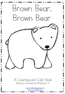 Brown Bear Printable Coloring Counting Mini Book Freebie For Kindergarten